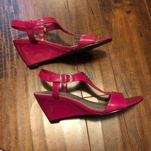 Beautiful Bright Pink Wedge Heels 👠